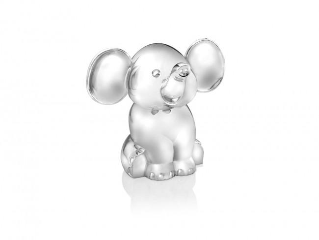 Tirelire Éléphant assis couleur argent