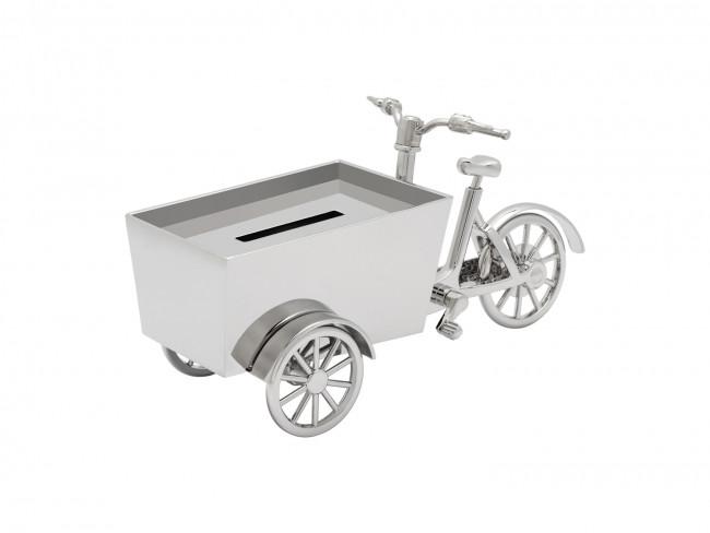 Tirelire Vélo cargo, couleur argent