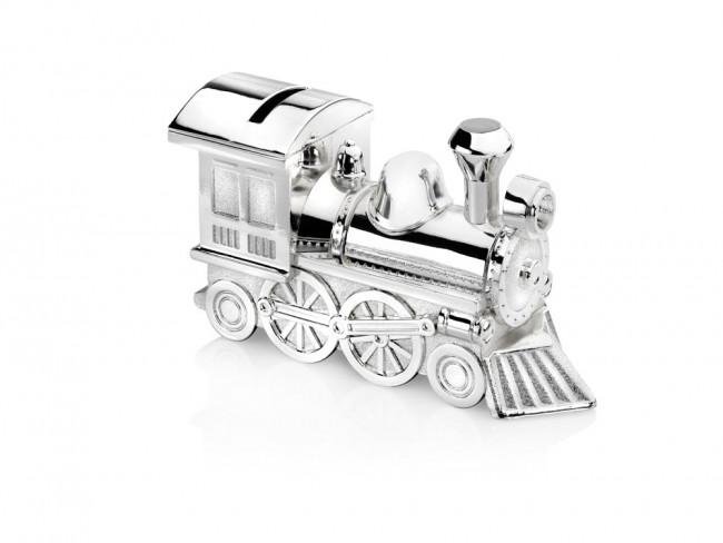 Tirelire Locomotive 15,5x5,5x8cm arg/laq