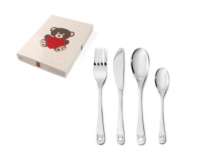Couvert pour enfant 4 pièces Ours avec Coeur acier inox