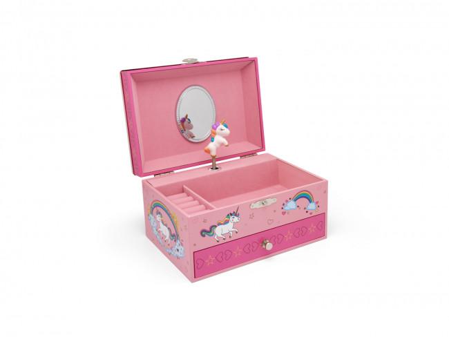 Boîte à bijoux Licorne avec bordure 7,2x12,3x9,8cm arg./laq.