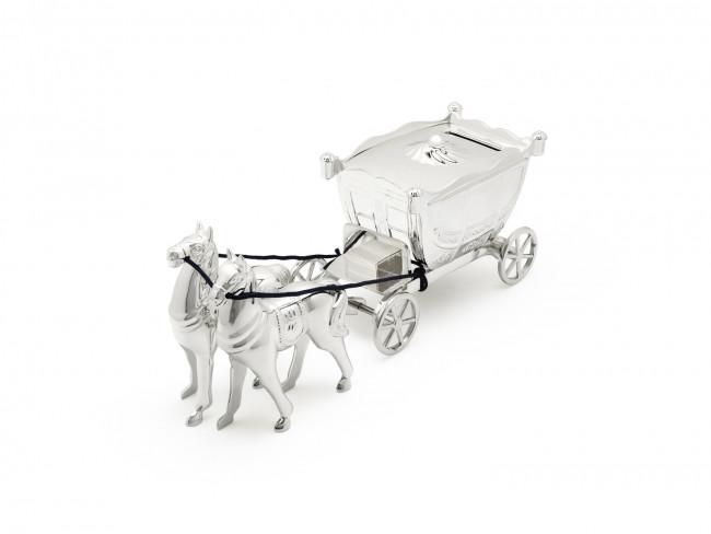 Tirelire coach avec 2 chevaux
