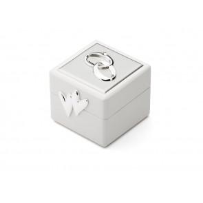 Petite boîte à alliance avec emblème argenté