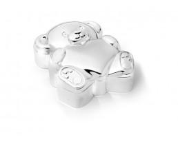 Boîte premières dents Ours avec coeur, argenté laqué