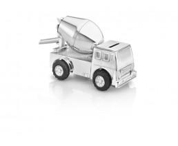 Tirelire Camion de ciment, argenté laqué