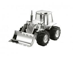 Tirelire Tracteur, argenté laqué