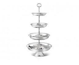Porte-douceurs Décor perles, 4 niveaux, argenté