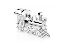 Tirelire Locomotive, argenté laqué