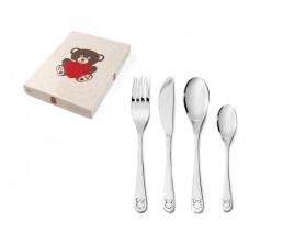 Couvert pour enfant Ours avec coeur, 4 pièces, acier inoxydable