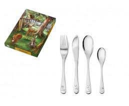 Couvert pour enfant Animaux de la forêt, 4 pièces, acier inoxydable