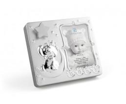 Cadre photo Baby 9x13 cm, avec musique, argenté laqué