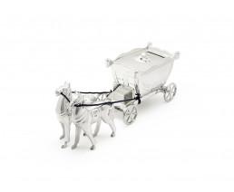 Tirelire Carosse avec chevaux, argenté laqué