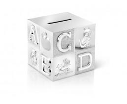 Tirelire Cube, grand, ABC, couleur argent